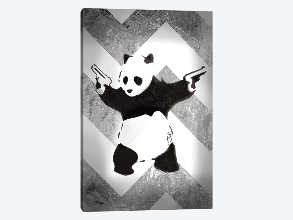 Panda With Guns On Silver Chevron 1-piece Canvas Wall Art
