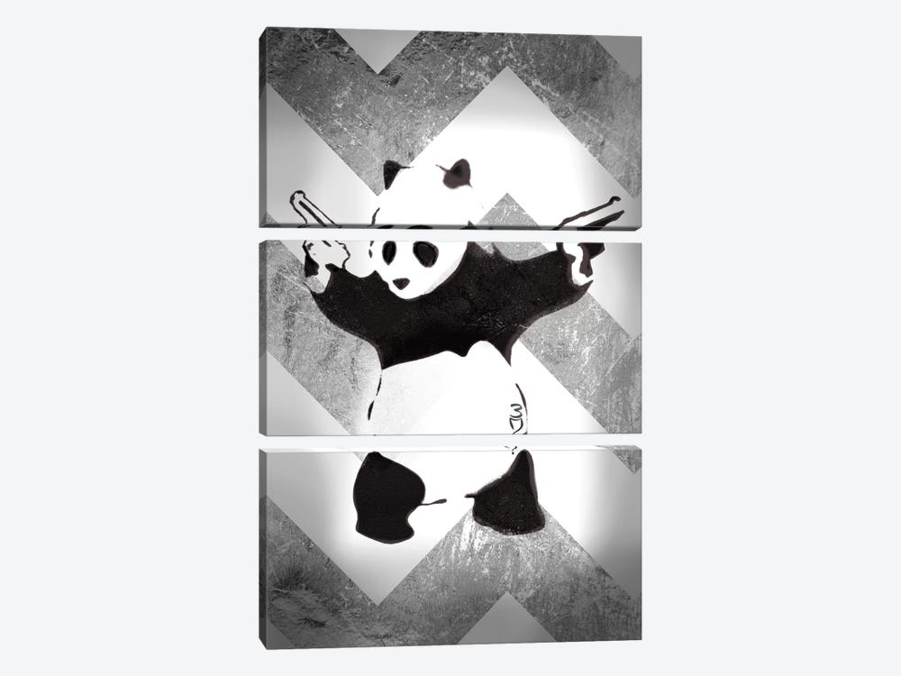 Panda With Guns On Silver Chevron by Unknown Artist 3-piece Canvas Wall Art