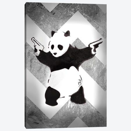 Panda With Guns On Silver Chevron Canvas Print #BNK195} by Unknown Artist Canvas Print