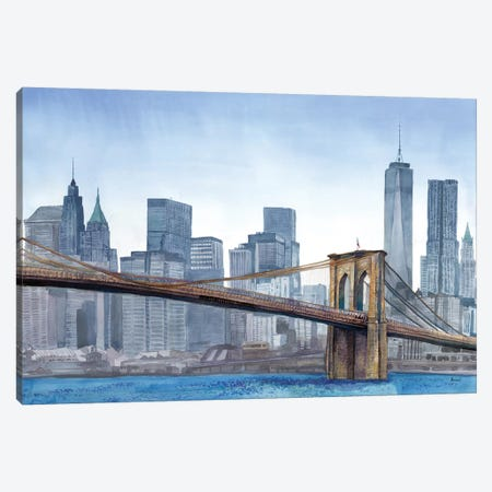 NY Skyline Canvas Print #BNR16} by Bannarot Canvas Wall Art