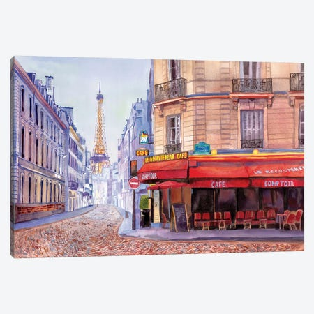 Paris Café w/Eiffel Canvas Print #BNR17} by Bannarot Canvas Wall Art