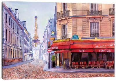 Paris Café w/Eiffel Canvas Art Print