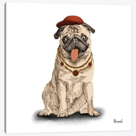 Pugs in hats I Canvas Print #BNR18} by Bannarot Canvas Art Print