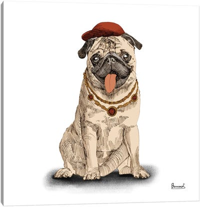 Pugs in hats I Canvas Art Print