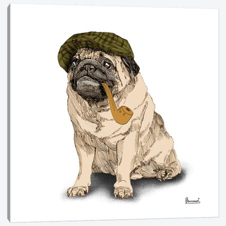 Pugs in hats II Canvas Print #BNR19} by Bannarot Canvas Art Print