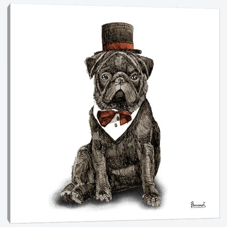 Pugs in hats III Canvas Print #BNR20} by Bannarot Canvas Artwork