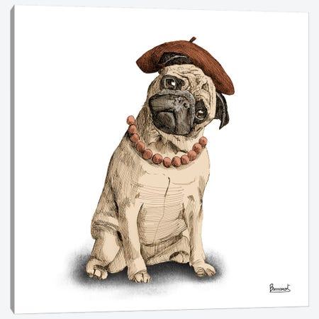 Pugs in hats IV Canvas Print #BNR21} by Bannarot Canvas Art