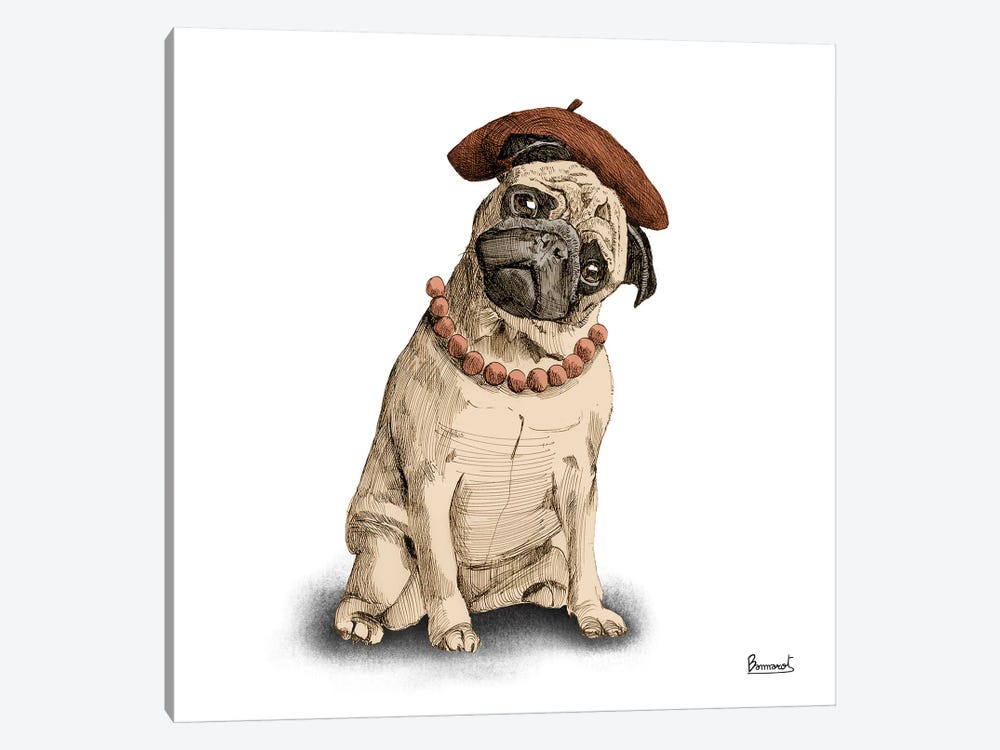 Pugs in hats IV by Bannarot 1-piece Canvas Wall Art