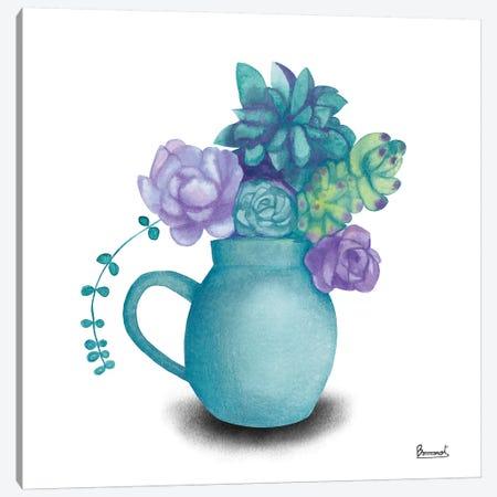 Turquoise Succulents V Canvas Print #BNR30} by Bannarot Art Print