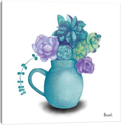 Turquoise Succulents V Canvas Art Print
