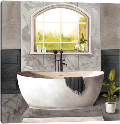Marble Bath I Black & White Canvas Art Print