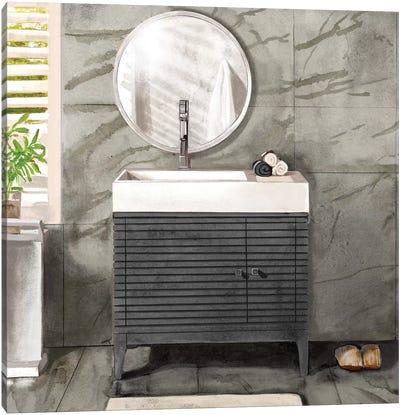 Marble Bath II Black & White Canvas Art Print