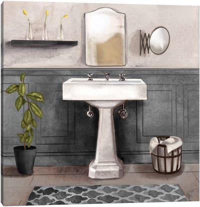 Serene Bath I Black & White Canvas Art Print