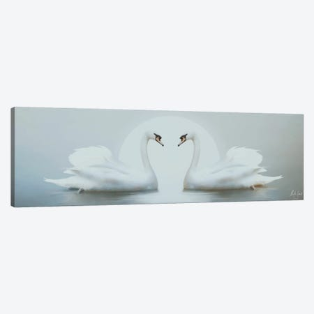 Moonlight Swans Canvas Print #BNT32} by Bente Schlick Canvas Print