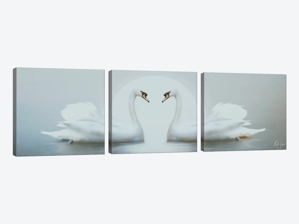 Moonlight Swans by Bente Schlick 3-piece Canvas Wall Art