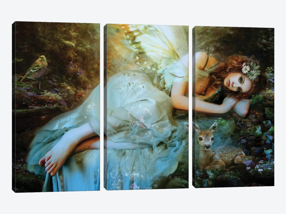 Spring Fairy by Bente Schlick 3-piece Canvas Art Print