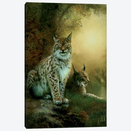 Two Lynxes Canvas Print #BNT49} by Bente Schlick Canvas Artwork