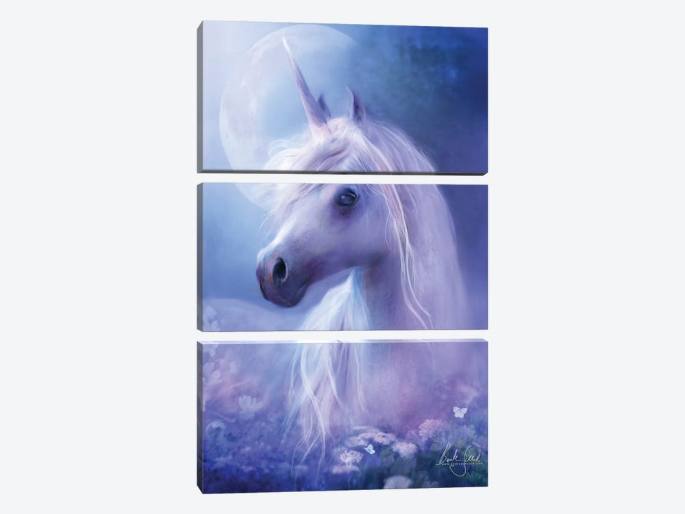 Unicorn Moon by Bente Schlick 3-piece Canvas Wall Art