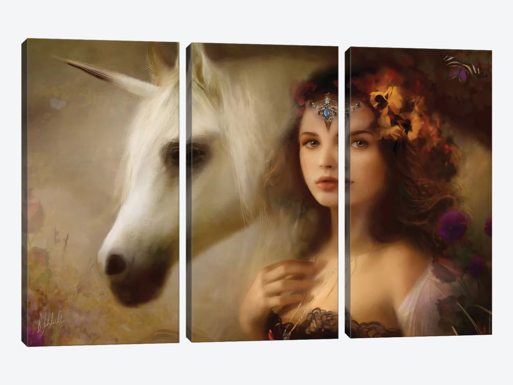 Unicorn by Bente Schlick 3-piece Canvas Wall Art