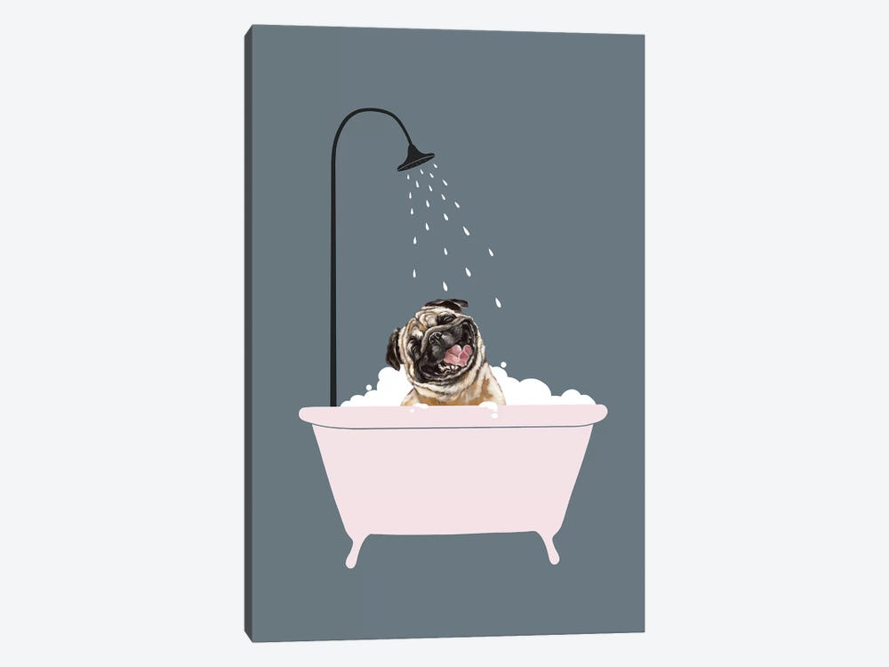 Laughing Pug Enjoying Bubble Bath by Big Nose Work 1-piece Canvas Print