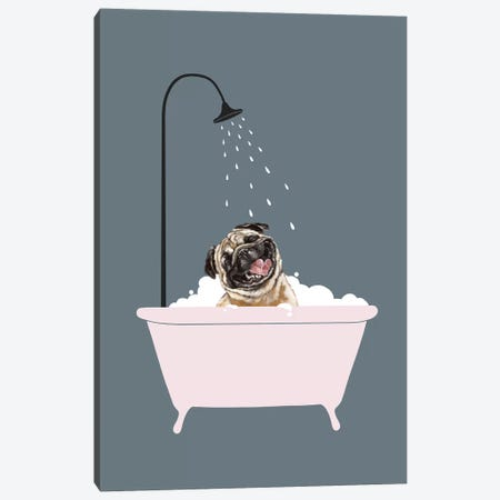 Laughing Pug Enjoying Bubble Bath Canvas Print #BNW100} by Big Nose Work Canvas Art