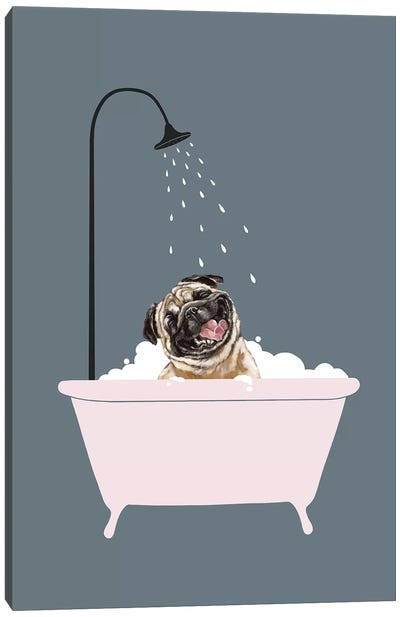 Laughing Pug Enjoying Bubble Bath Canvas Art Print
