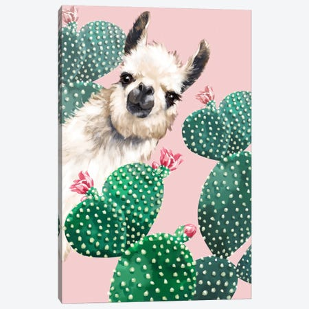 Llama And Cactus Canvas Print #BNW101} by Big Nose Work Canvas Wall Art