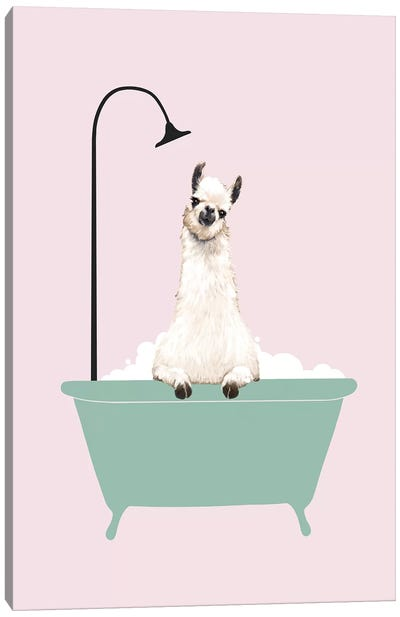 Llama Enjoying Bubble Bath Canvas Art Print