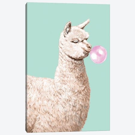 Playful Alpaca Chewing Bibble Gum In Green Canvas Print #BNW106} by Big Nose Work Art Print