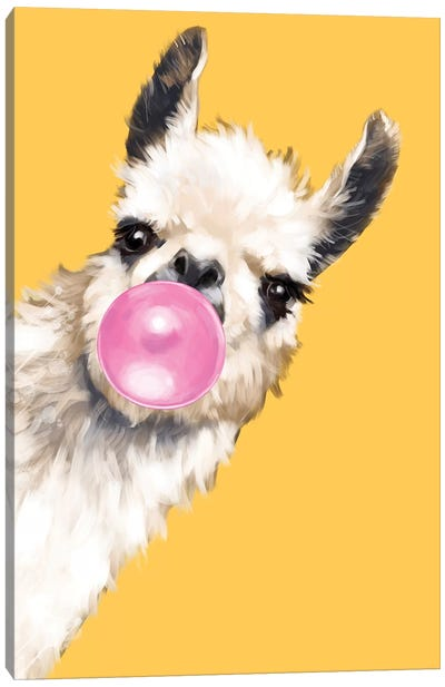 Sneaky Bubble Gum Llama In Yellow Canvas Art Print