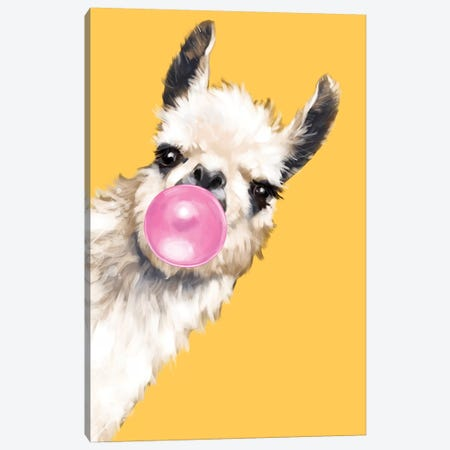 Sneaky Bubble Gum Llama In Yellow Canvas Print #BNW111} by Big Nose Work Canvas Print