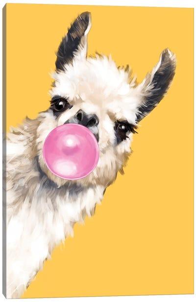 Sneaky Bubble Gum Llama In Yellow Canvas Art Print