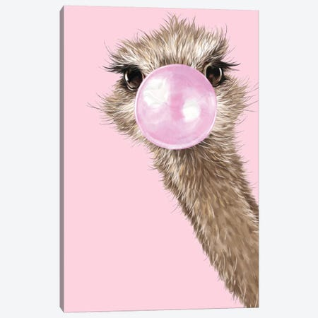 Ostrich With Bubble Gum In Pink Canvas Print #BNW115} by Big Nose Work Canvas Wall Art