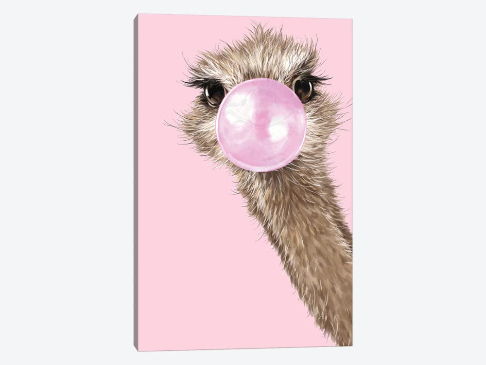 Ostrich With Bubble Gum In Pink by Big Nose Work 1-piece Canvas Art Print