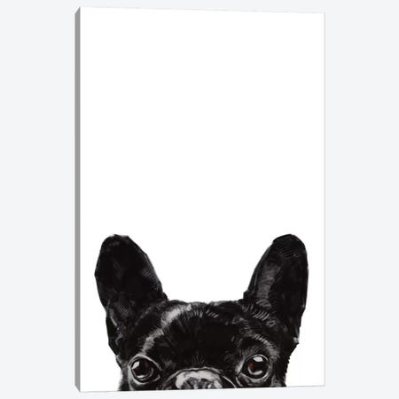 Peeking Bulldog Canvas Print #BNW116} by Big Nose Work Canvas Artwork