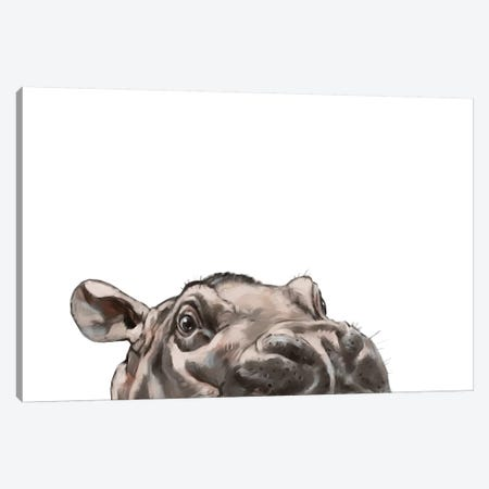 Peeking Hippo Canvas Print #BNW117} by Big Nose Work Canvas Wall Art