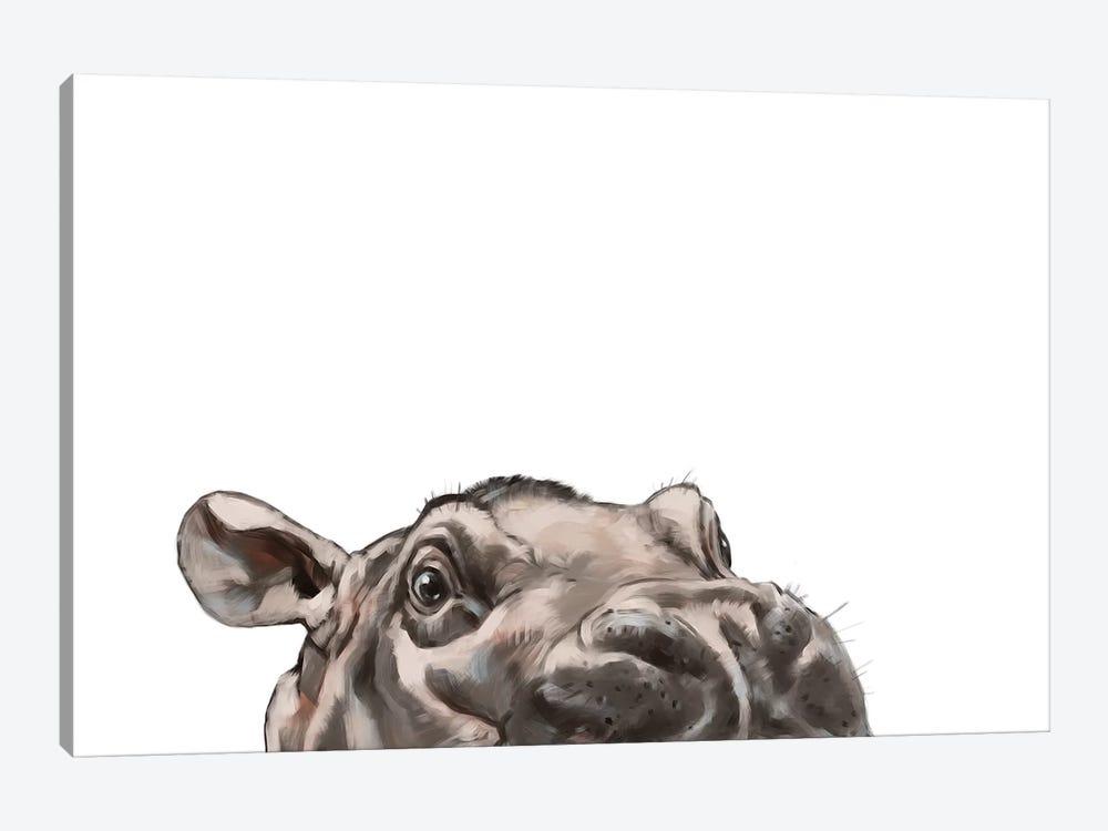 Peeking Hippo by Big Nose Work 1-piece Art Print