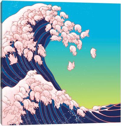 Piglets Waves Canvas Art Print