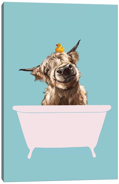Playful Highland Cow In Bathtub Canvas Art Print
