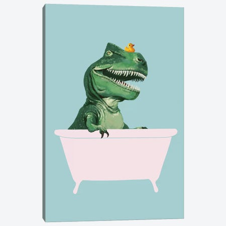 Playful T Rex In Bathtub In Green Canvas Print #BNW120} by Big Nose Work Canvas Artwork