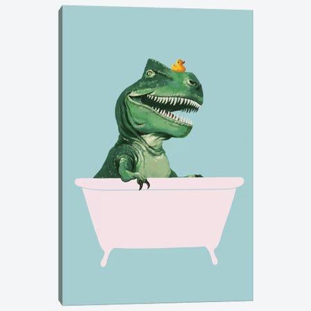 Playful T Rex In Bathtub In Green Canvas Print #BNW120} by Big Nose Work Canvas Artwork
