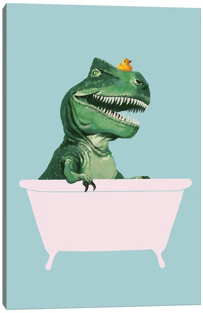 Playful T Rex In Bathtub In Green Canvas Art Print