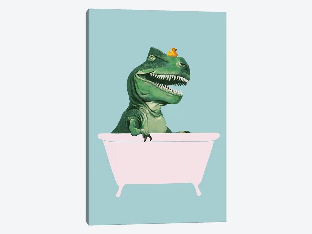 Playful T Rex In Bathtub In Green by Big Nose Work 1-piece Canvas Art Print
