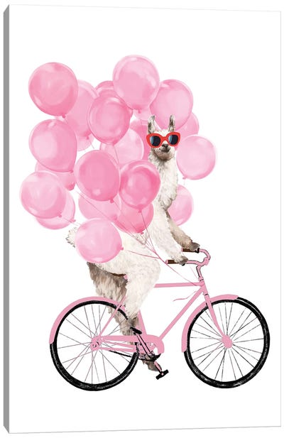 Iding Llama With Pink Balloons Canvas Art Print