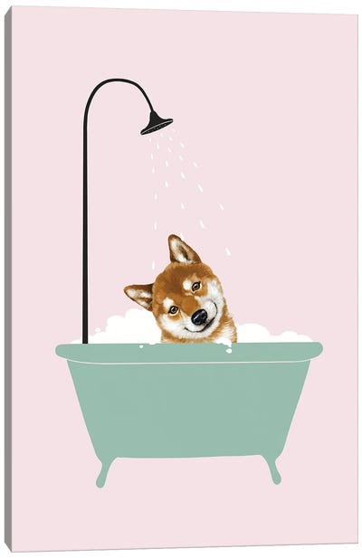 Shiba Inu Enjoying Bubble Bath Canvas Art Print