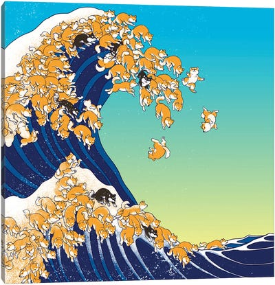 Shiba Inu In Great Waves Canvas Art Print
