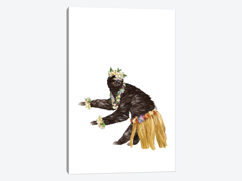 Sloth The Hawaiian Dancer by Big Nose Work 1-piece Canvas Wall Art