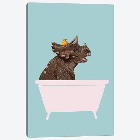 Triceratop In Bathtub Canvas Print #BNW126} by Big Nose Work Art Print