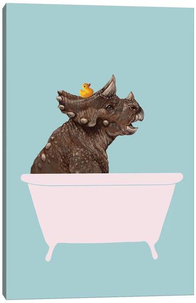 Triceratop In Bathtub Canvas Art Print