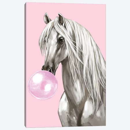 White Horse With Bubbble Gum In Pink Canvas Print #BNW127} by Big Nose Work Canvas Art Print